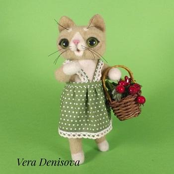 купить игрушку кошка Соня из шерсти