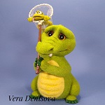крокодил с сачком и лягушкой